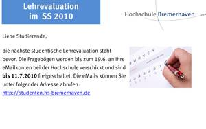 Poster zur Lehrevaluation SS 2010